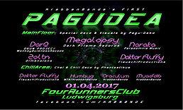 Party flyer: Pagudea #1 w/ Megalopsy, DarQ, Naraka, Zoltn uvm 1 Apr '17, 22:00