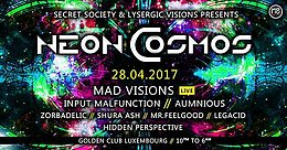 Party flyer: Neon Cosmos 28 Apr '17, 22:00