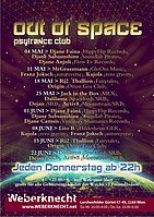 Party flyer: Out Of Space Psytrance Club @ Weberknecht 4 May '17, 22:00