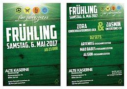 Party flyer: Fierjahreszeiten Frühlingsparty 06.05.2017 alte Kaserne ab 23:00 6 May '17, 23:00