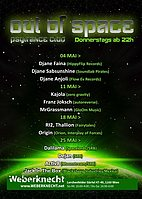 Party flyer: Out Of Space Psytrance Club @ Weberknecht 18 May '17, 22:00