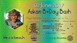 Party flyer: Life is a beach - Askari's B-day bash < TROPICAL BLEYAGE LIVE > 2 Jun '17, 22:00