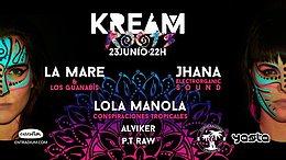 Party flyer: KREAM Roots · La Mare, Jhana Electrorganic y Lola Manola 23 Jun '17, 22:00
