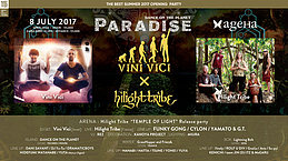 "Party flyer: DANCE on the Planet ""PARADISE"" - Vini Vici X Hilight Tribe 8 Jul '17, 23:00"