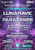 Party flyer: Natural Exposure Open Air In Athens : Lunarave - Parasense - Confo & More !!! 9 Sep '17, 23:00