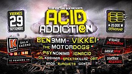 Party flyer: 29/09 · Acid Addiction · Ben 9mm · Vikkei · The Motordogs +20kw! 29 Sep '17, 23:30