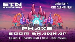 Party flyer: Evolution w/ Phaxe, Boom Shankar uvm. 30 Sep '17, 23:00