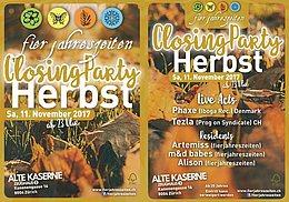 Party flyer: Fierjahreszeiten Herbstparty - Closing Party 11 Nov '17, 23:00
