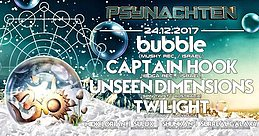 Party flyer: Psynachten - Bubble, Captain Hook, Unseen Dimensions, Twilight 24 Dec '17, 23:30