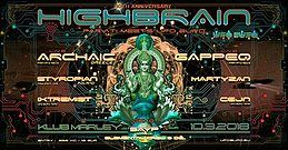 Party flyer: Highbrain 10 10 Mar '18, 21:00