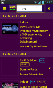 smartphone app goabase party finder